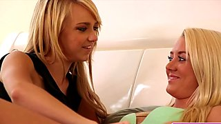 Two tiny boobs blonde teens pleasuring each other's pussies