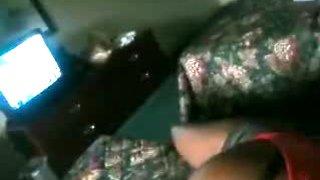 Ebony cutie swallows a big fat dong