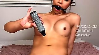 Sexy Asian only Fans Star and IG Model Trucici Ball Gags her Dirty little Mouth and Rides a Dildo