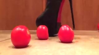 Tomatoes Crushed by Tall Platform Leather Boots .mp4