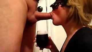 Masked wife drinks wine and sucks hubbys cock