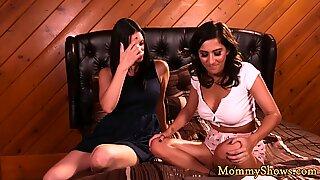 Busty lesbian stepmom scissoring with teen