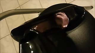 Cum in black High Heel Peeptoes