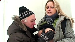 Dirty-minded blond head Ingrid lets the old man licks her wet pussy outdoors