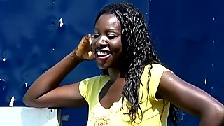 Naughty African lady pissed on and gets exploited