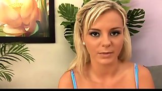 Kinky blond head Bree Olson shows her boobs and sucks a black cock