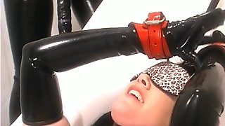 Lewd dominant nympho Anastasia Pierce makes a kinky brunette sucks a dildo