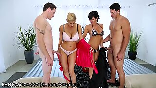FantasyMassage Hot Cougars take on 2 Young Guys