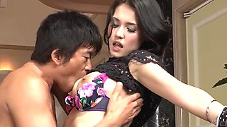 Busty exotic babe Maria Ozawa acts like slut in threesome sex