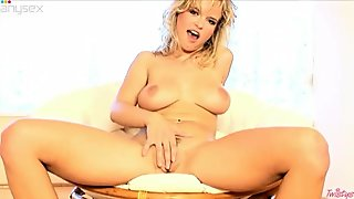 Sweet and sexy blondie stimulates her sexy tight pussy with her dildo