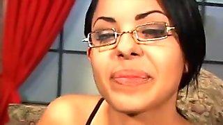 Schoolgirl hottie Victoria Sweet sucks big cock for a cum facial