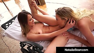 Poolside Pussy Licker Natalia Starr Eats Jillian Janson Out!