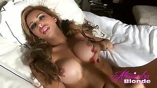 Alessandra Blonde in pink panties