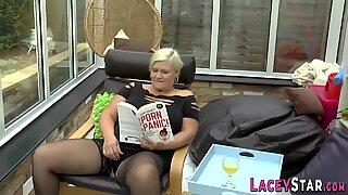 Titfucking british granny gets anally plowed